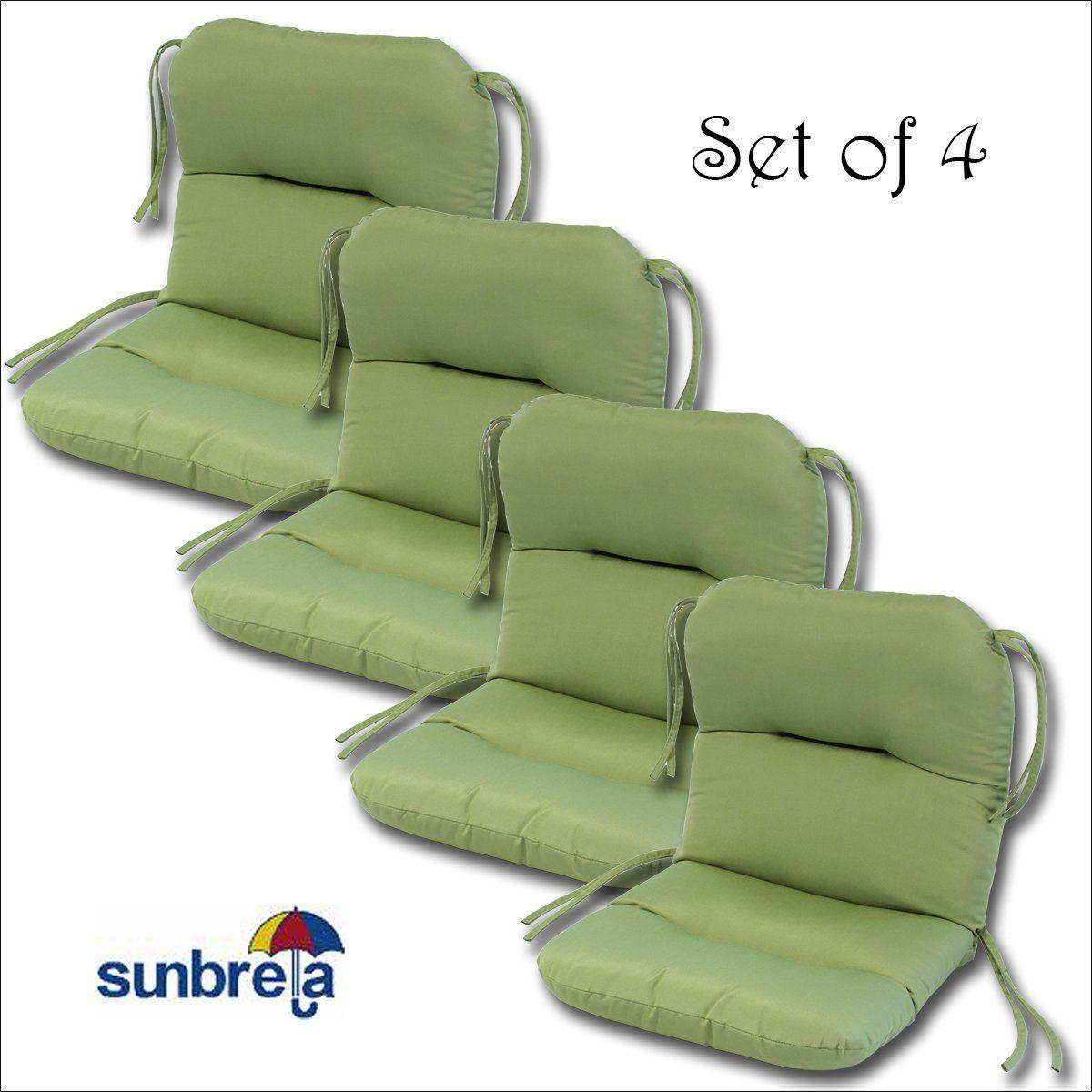 Set Of 4 Outdoor Chair Cushions 20 X 36 X 3 H 19 In Sunbrella