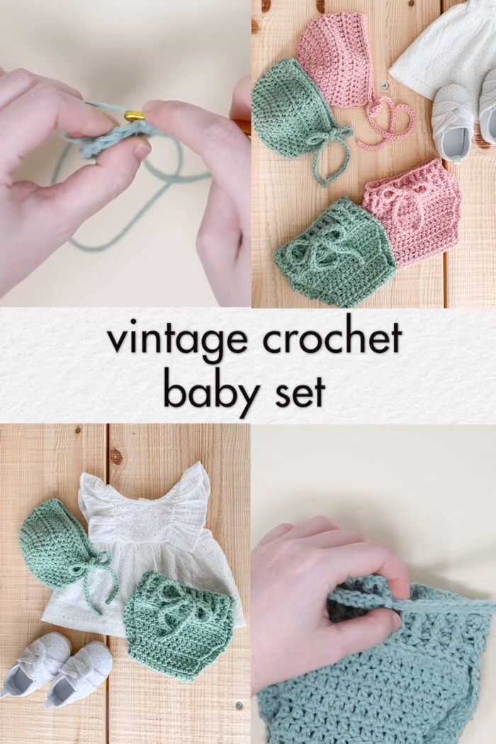Photo of Crochet Baby Set – Vintage Bonnet & Bloomers – free pattern