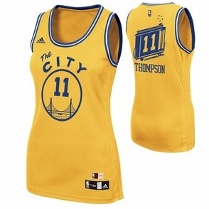 Golden State Warriors adidas Hardwood Classics  The City  Klay Thompson  11  Ladies  Replica Jersey - Gold - Click to enlarge eb9970f88