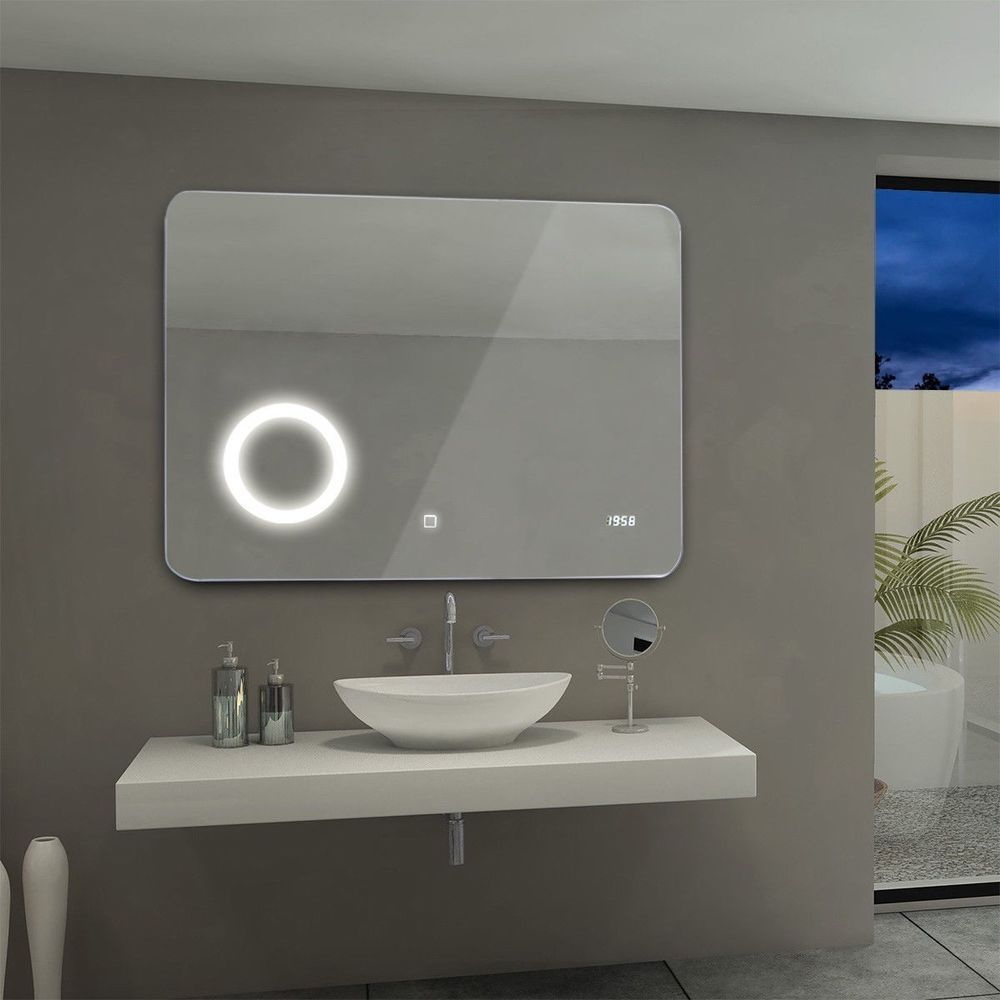 Square Bathroom Mirror With Light Led Wall Mount Mirror Touch Sensor And Clock Squarebathroommirror