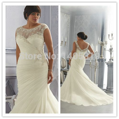 Plus Size Wedding Gowns For Cap Sleeves Mermaid