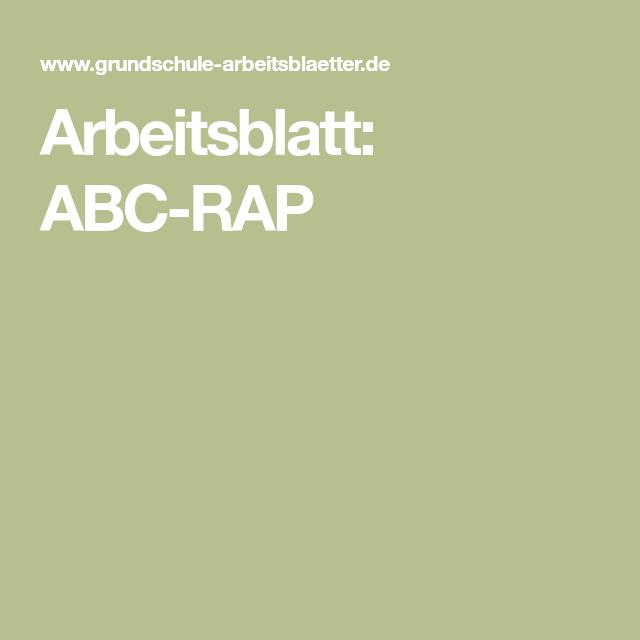 Arbeitsblatt Abc Rap Abc Rap Arbeitsblatter