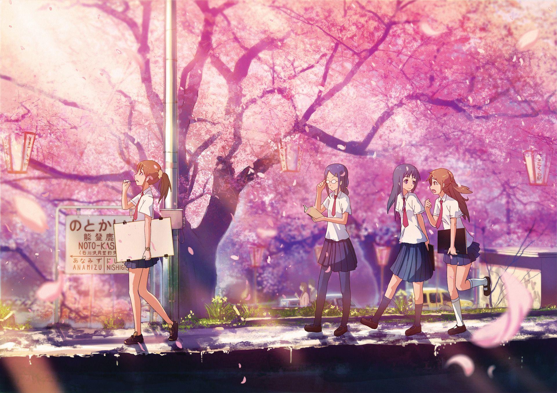Anime School Girls Walking With Art Supplies Under A Sakura