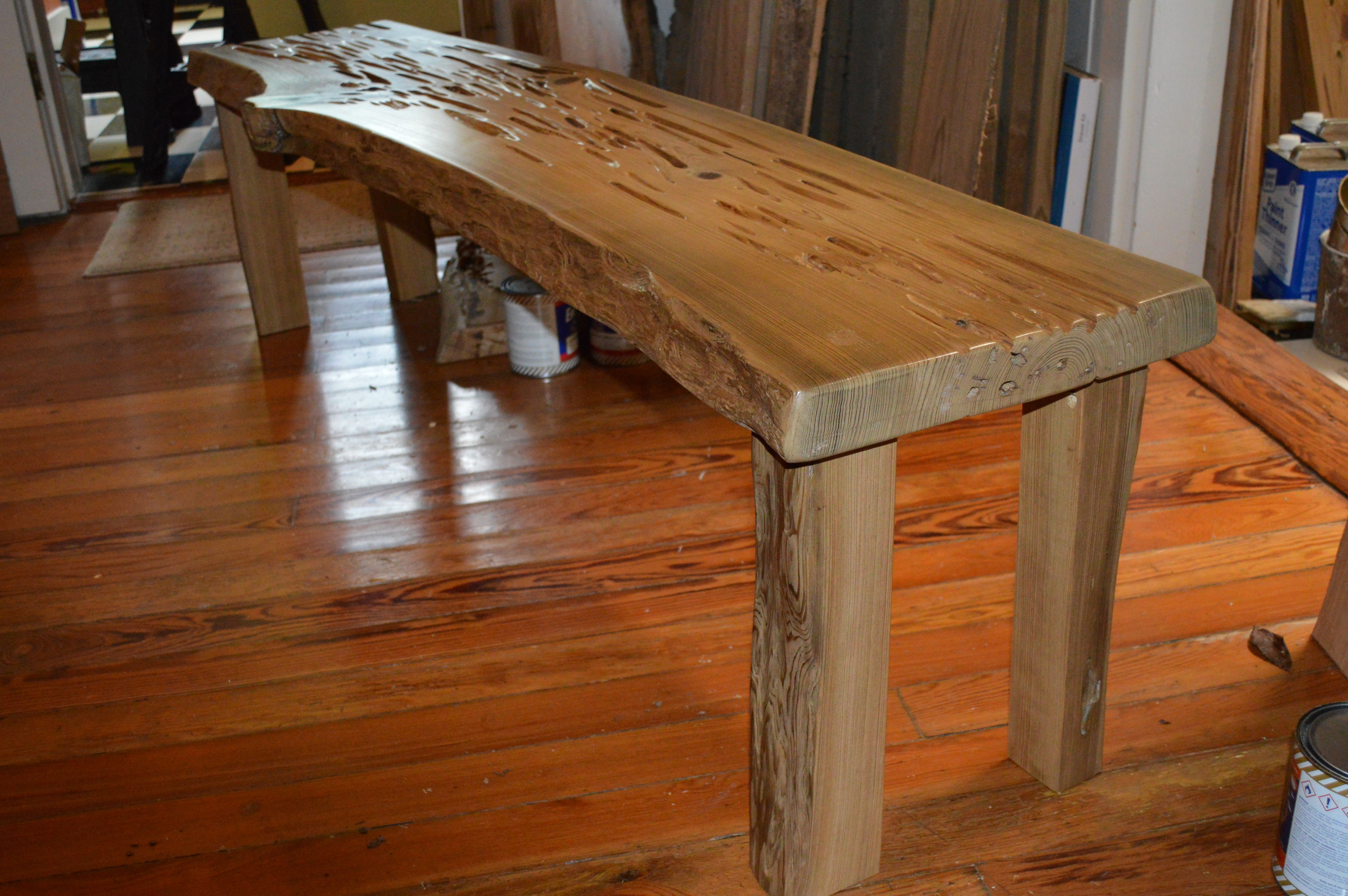Sinker Pecky Cypress Bench With Live Edge And Matching Legs Made