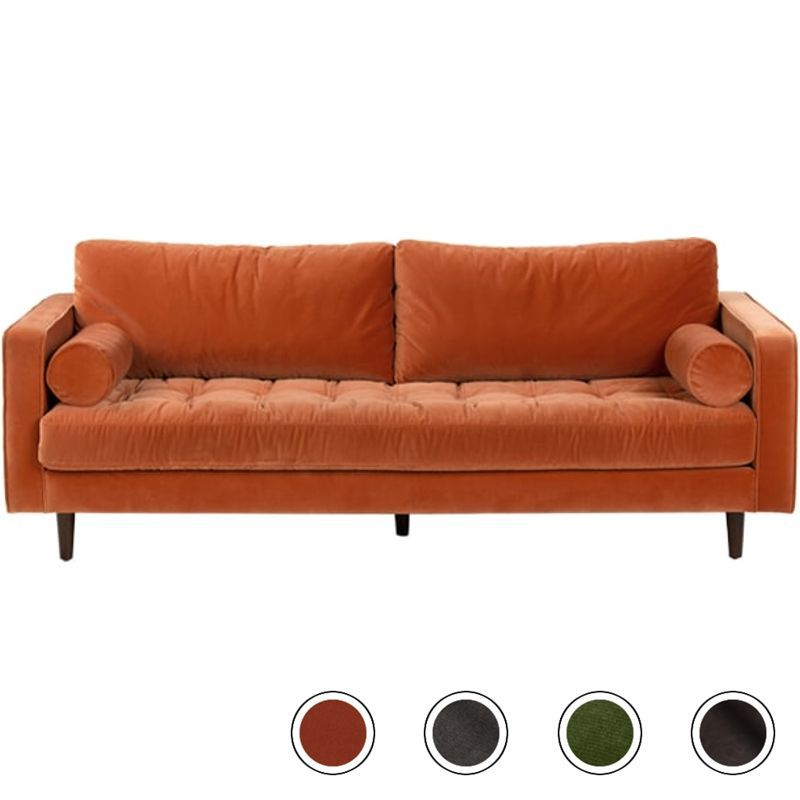 Superb Made Burnt Orange Cotton Velvet Sofa In 2019 3 Seater Sofa Machost Co Dining Chair Design Ideas Machostcouk