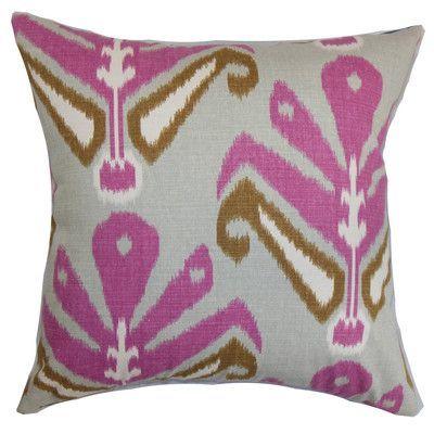 "The Pillow Collection Sakon Ikat Cotton Throw Pillow Cover Size: 18"" x 18"", Color: Rosehips"
