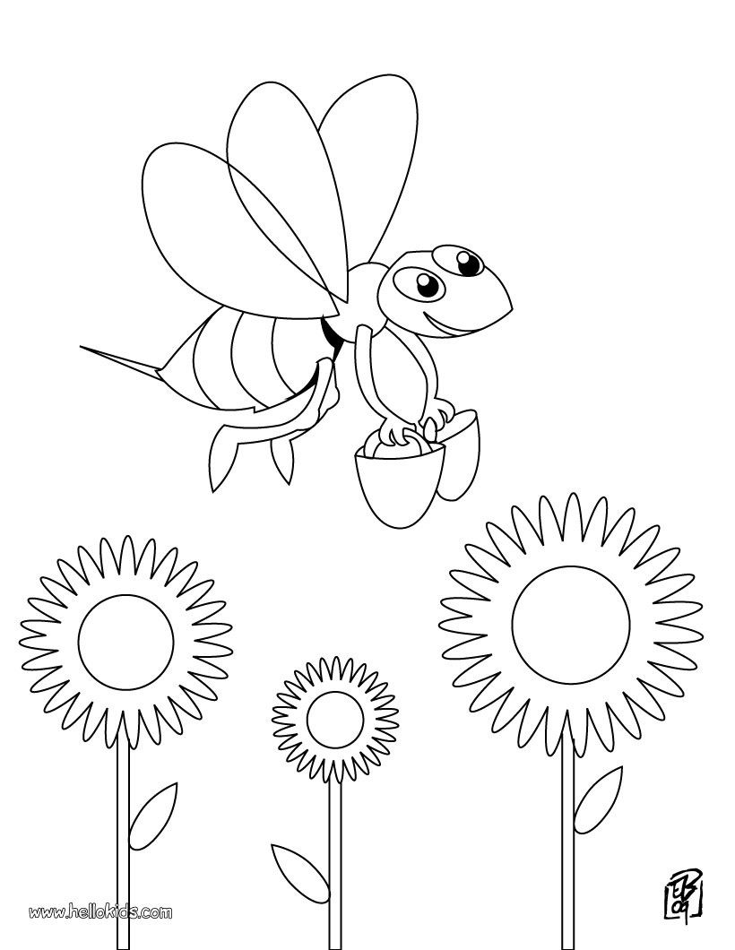 Funy Bee coloring page. Cute and amazing farm animals coloring page ...