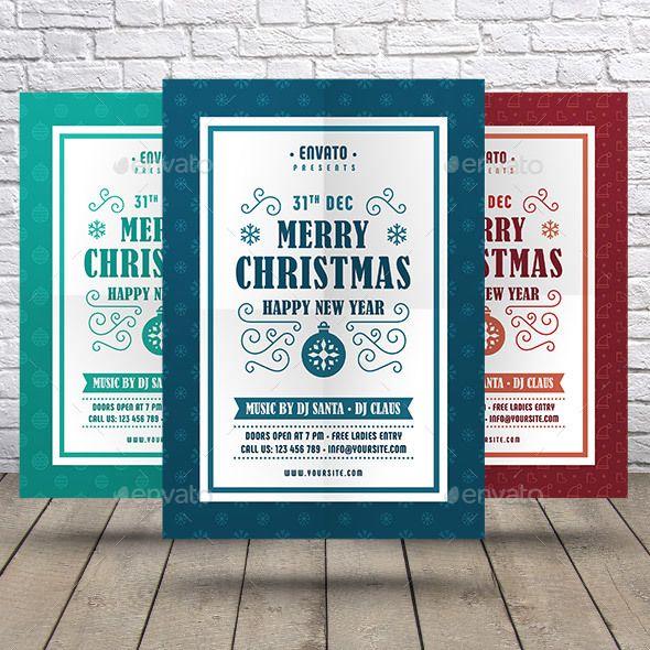 Christmas Happy New Year Flyer Template Vector Eps Ai Illustrator