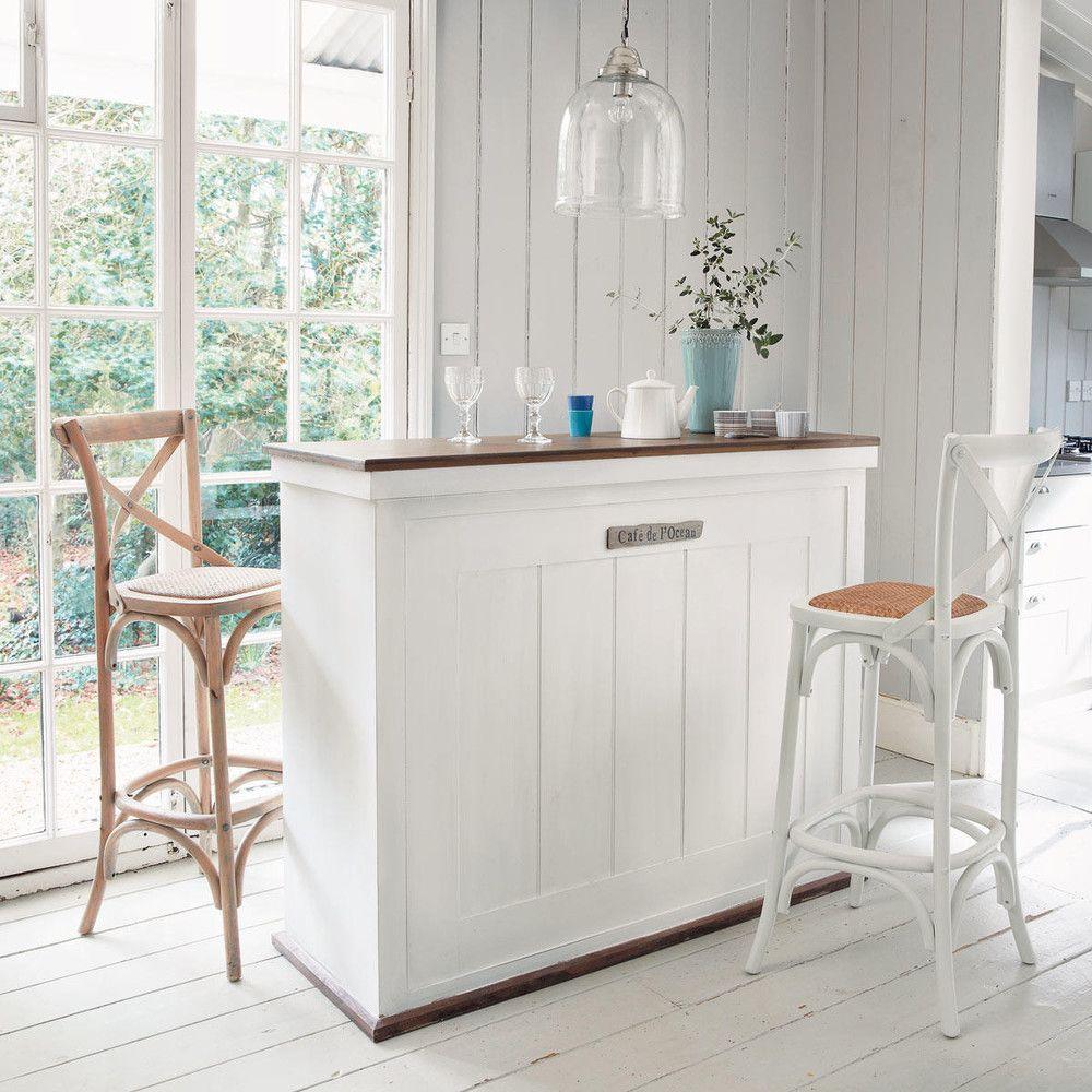 Meuble de bar avec tiroirs en bois blanc L129 | Deco | Meuble bar ...