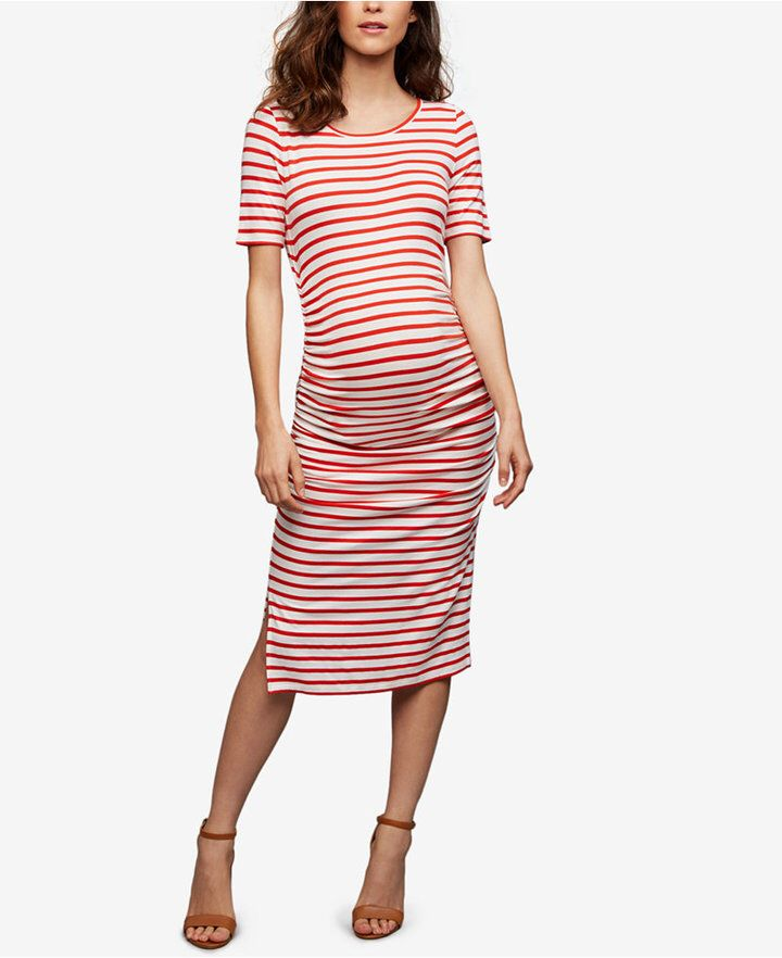 Isabella oliver maternity striped ruched dress ruched