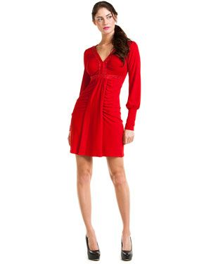 Hale Bob   Red Ruched Dress   $187.00