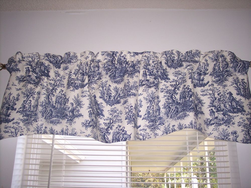 details about navy delft blue/white~waverly rustic toile scalloped