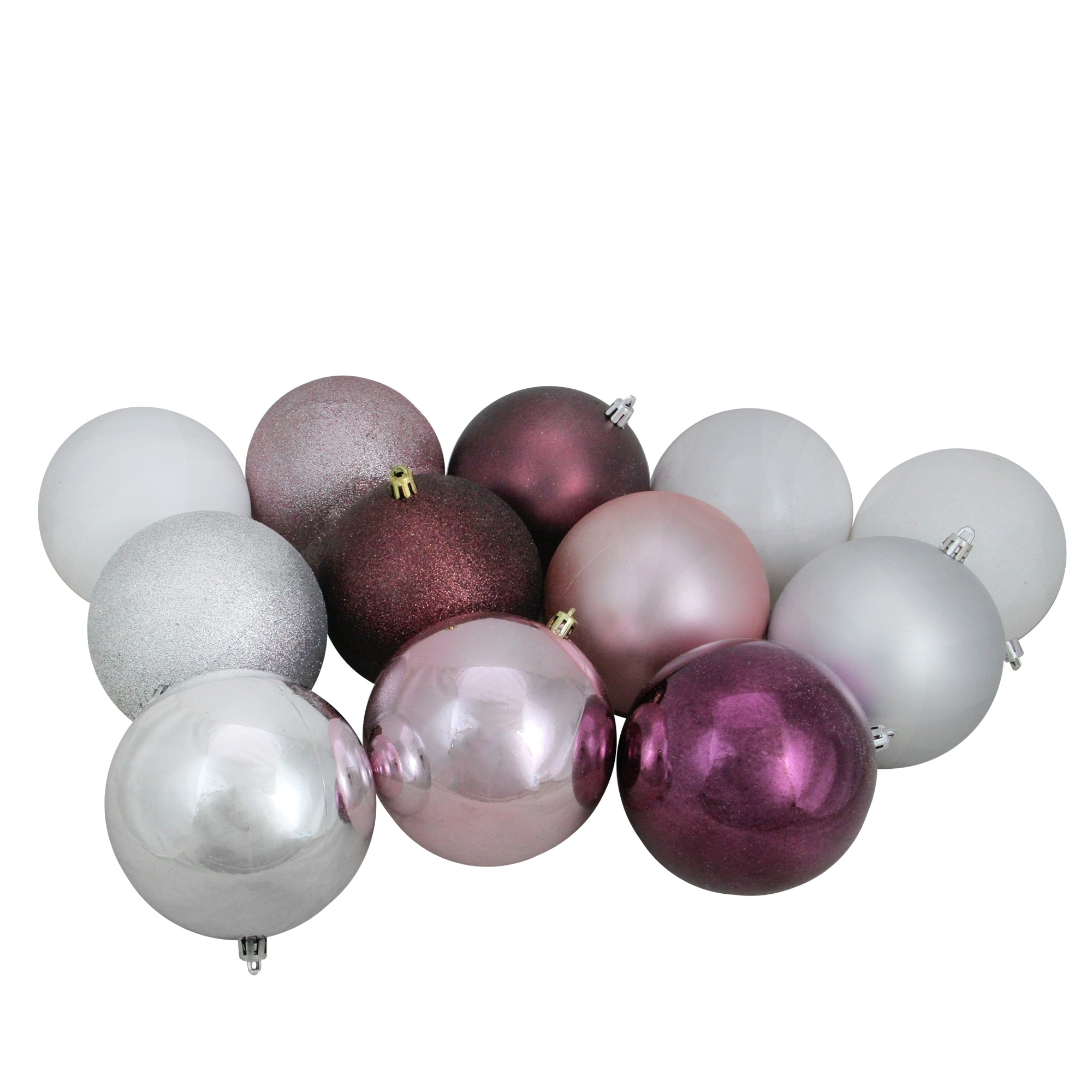 12ct Blush Pink Mulberry Silver White Shatterproof Christmas Ball Ornaments 4 Multi Plastic Christmas Balls Christmas Ornament Sets Ball Ornaments