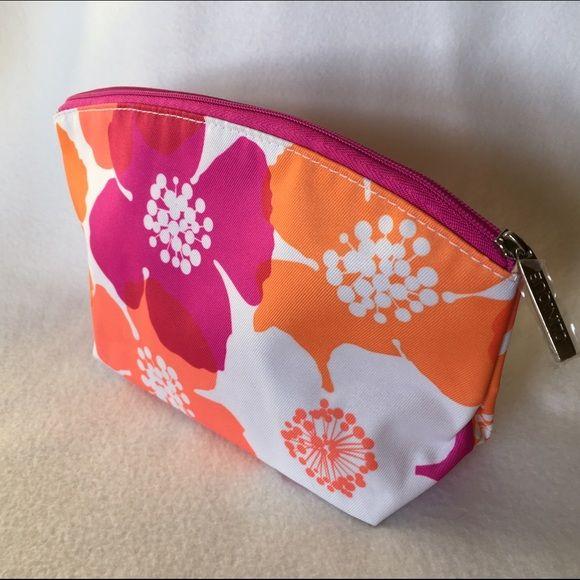 Clinique Makeup Bag New Purple Pink And Orange Flower Print