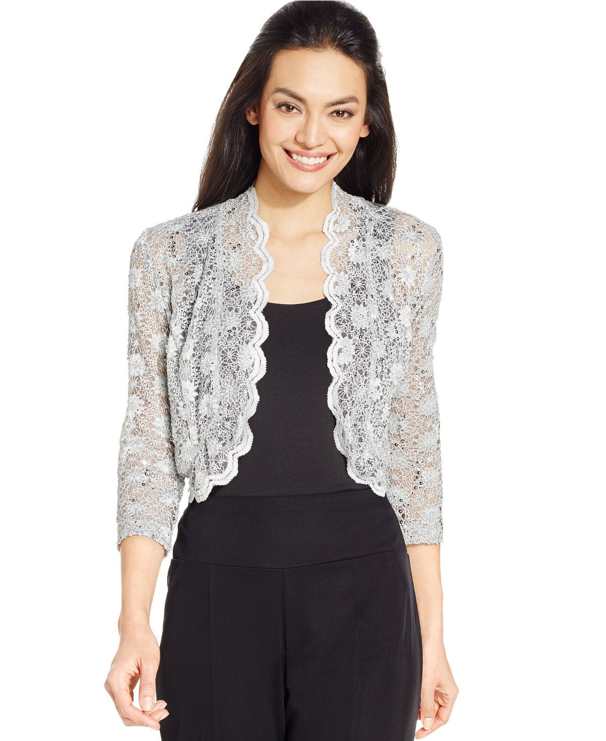 R&M Richards Scalloped Sequin Lace Bolero | Lace bolero, Boleros ...
