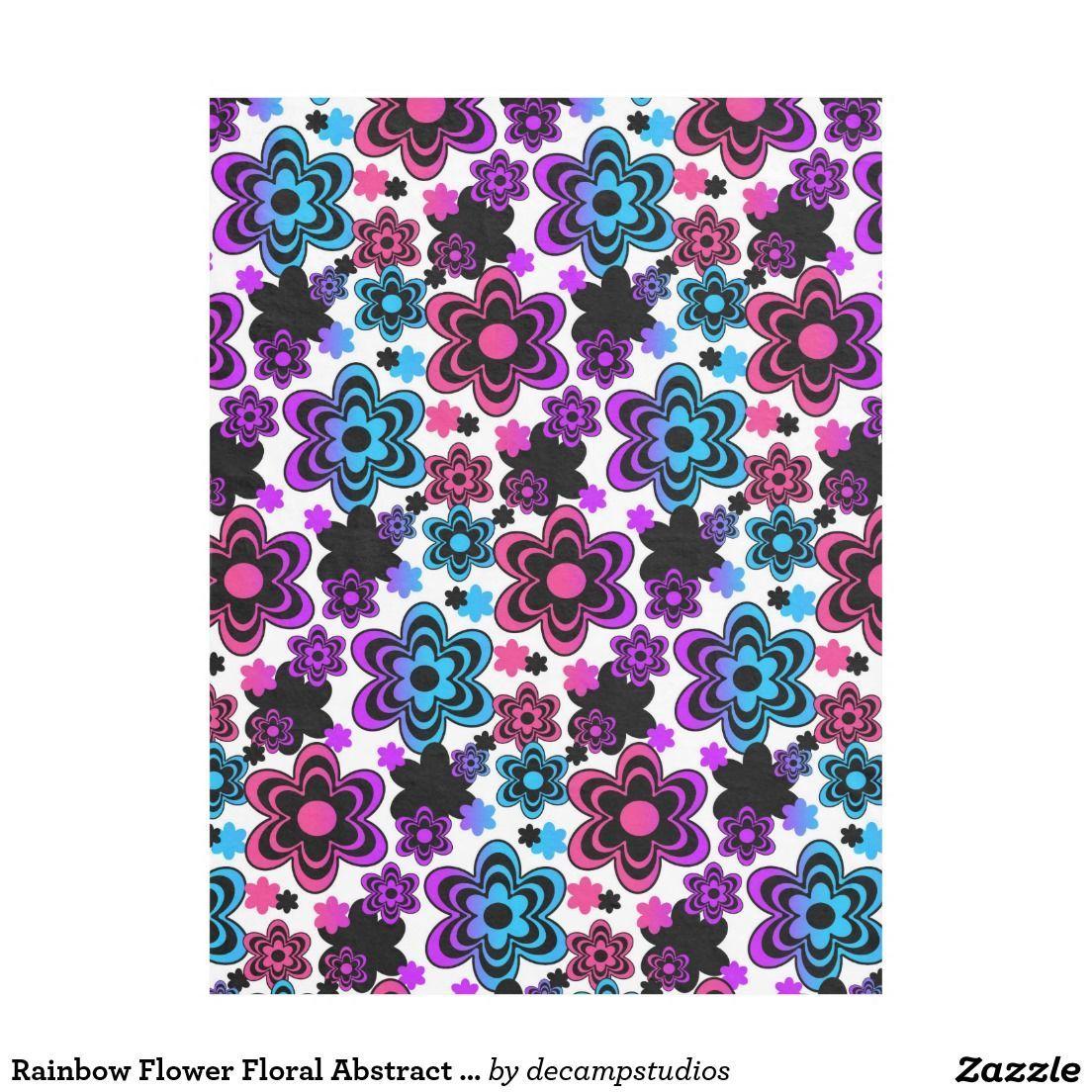 Rainbow flower floral abstract teen girl fleece blanket bathroom