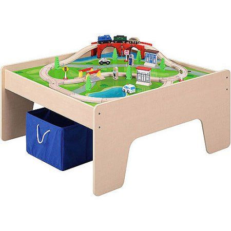 Wooden Activity Table with 45-Piece Train Set & Storage Bin Only ...