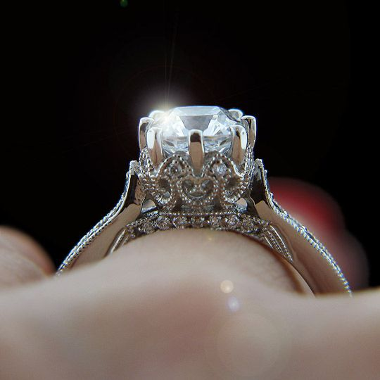 crown vintage engagement ring - Crown Wedding Rings