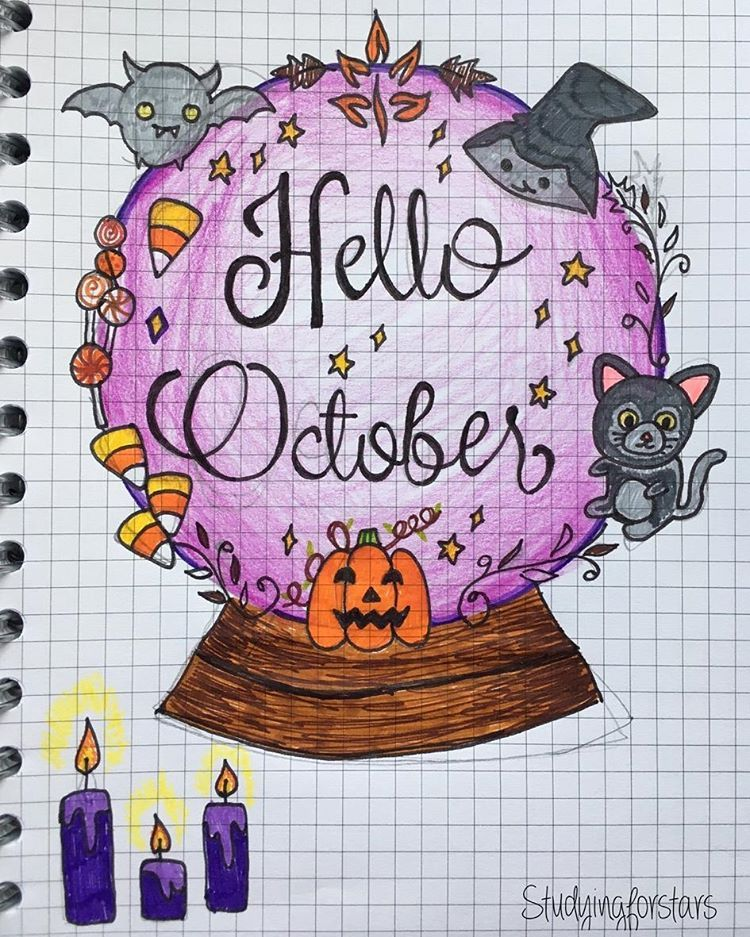 Today's Halloween post is a monthly title page from tumblr user studying for stars . . #bulletjournal #bulletjournalcommunity #bujo #bujoy #bulletjournaljunkies #bulletjournallove #stationeryaddict #illustration #plannergirl #handwriting #planner #lettering #october #halloween #monthly #doodle #plannercommunity #notebook #bulletjournalcollection #bjcmonthly