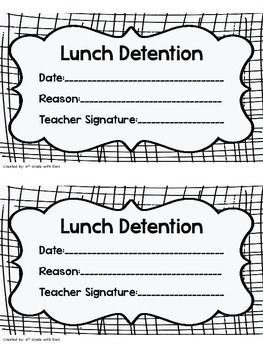 Lunch Detention Slip