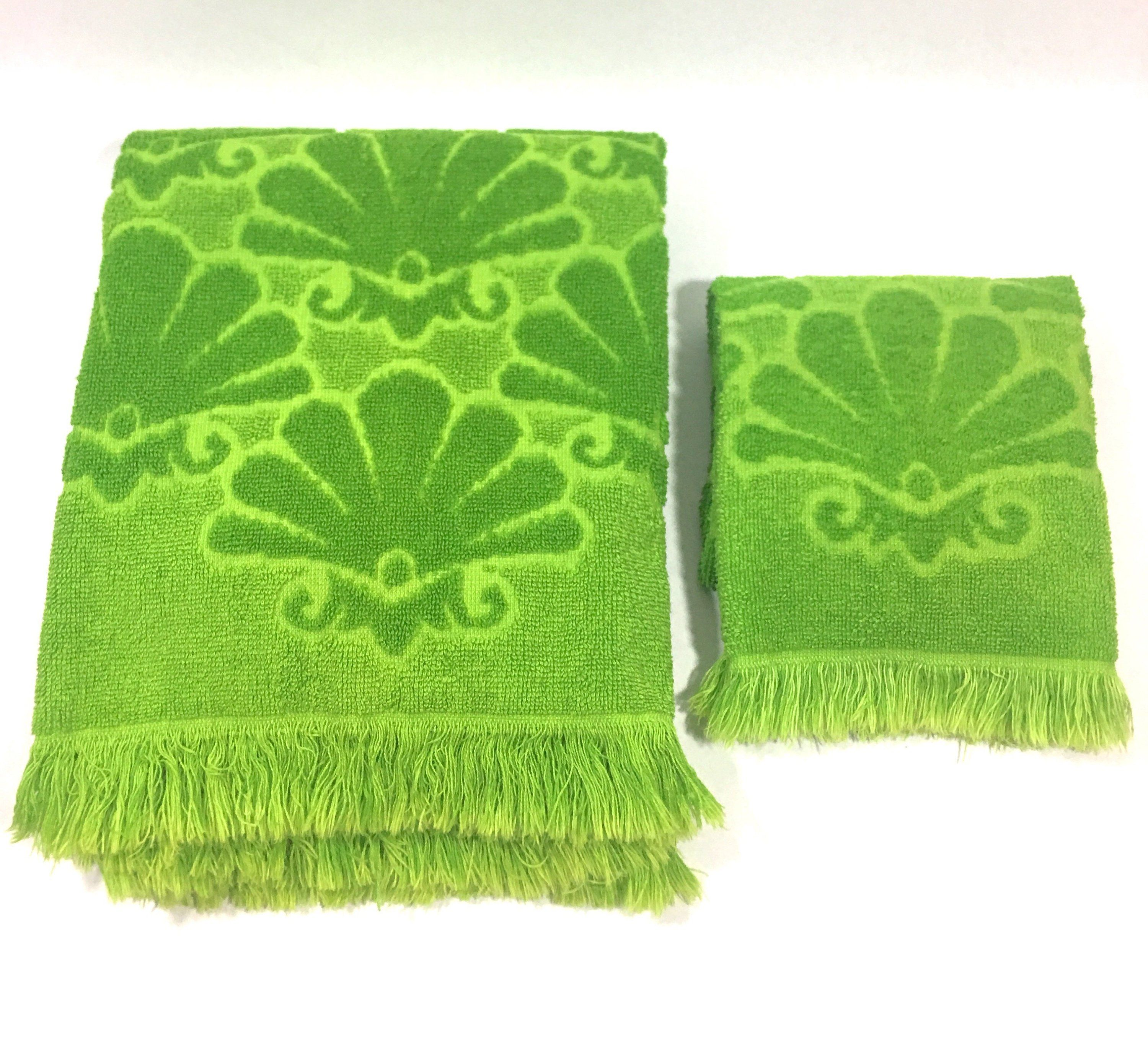 Vintage Fieldcrest Towel Lime Green Sculpted Fringed Bath And Hand