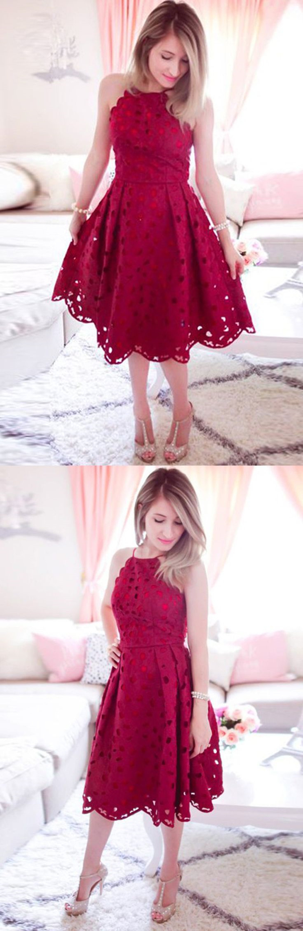 Aline halter kneelength burgundy sleeveless lace homecoming dress