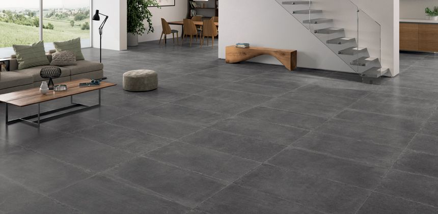 Ec Limestone Porcelain Tiles In Dark Grey Fill This Minimalist Living Room Type Of Tile A Replica Series Usage