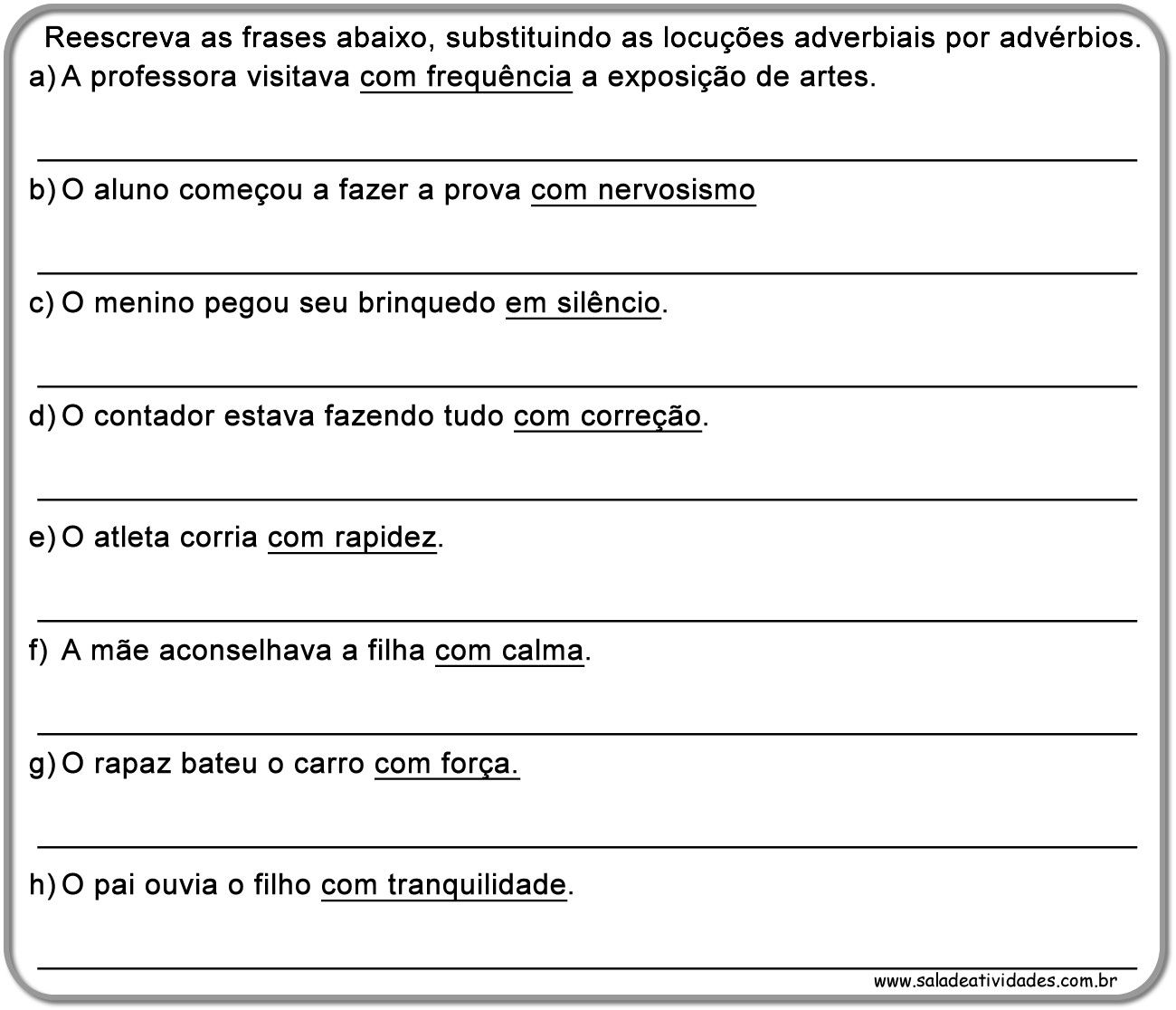 Atividades De Adverbio Prontas Para Imprimirsala De Atividades