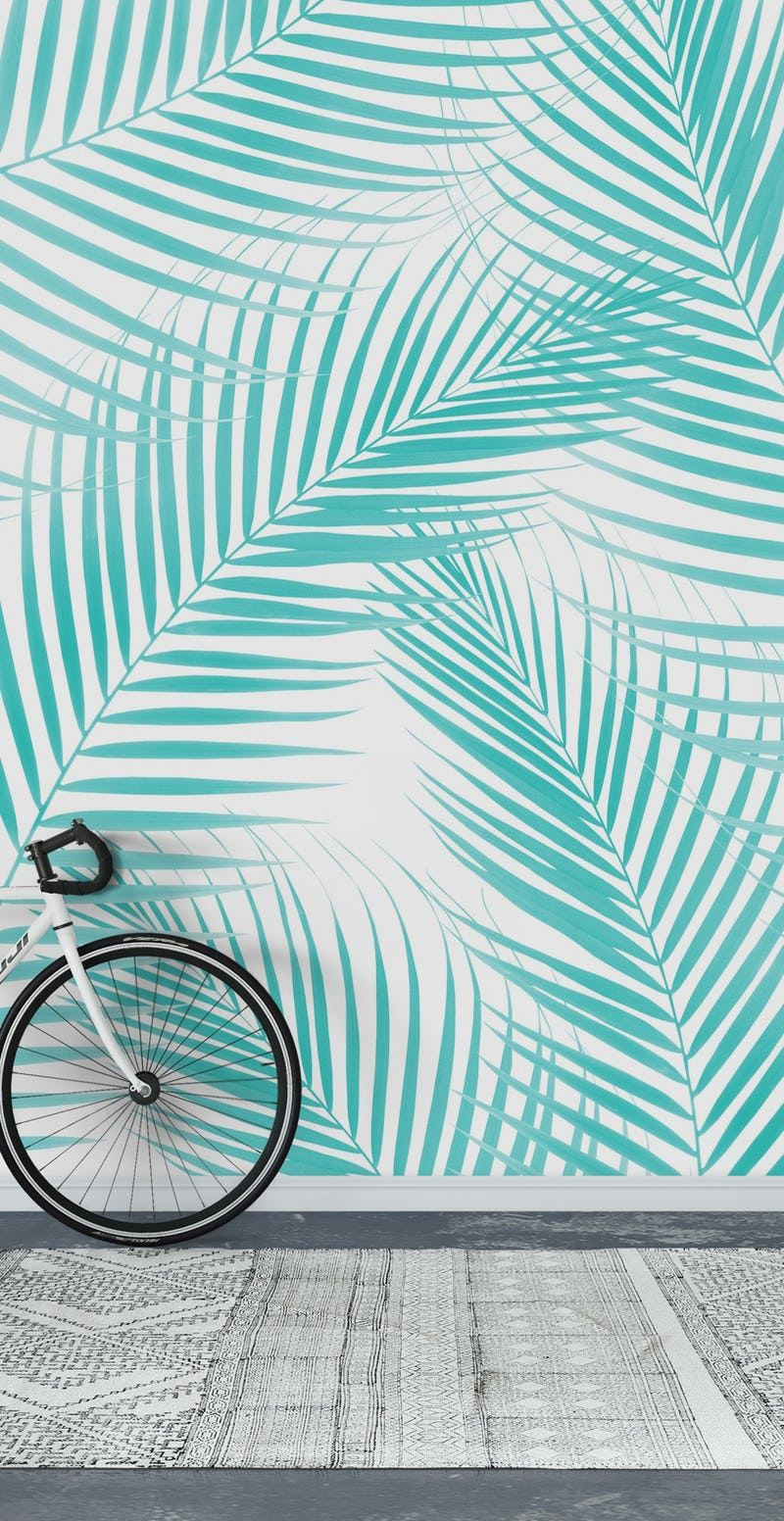 Soft Turquoise Palm Leaves 2 Wall mural in 2020