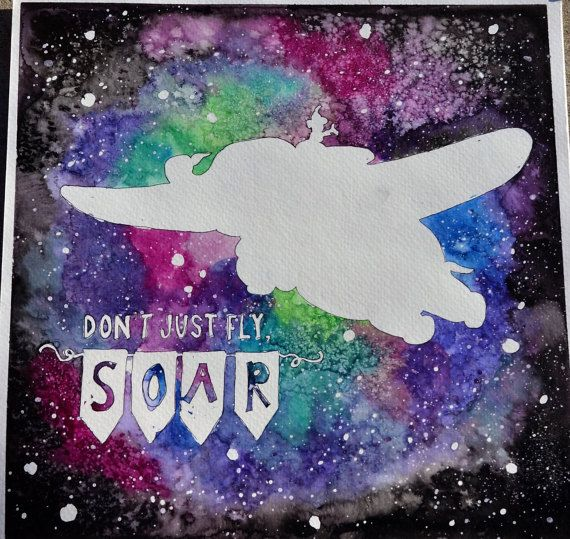 Don't Just Fly, Soar - Dumbo - Disney Inspired Hand Painted Watercolor by Violet Knight Designs.
