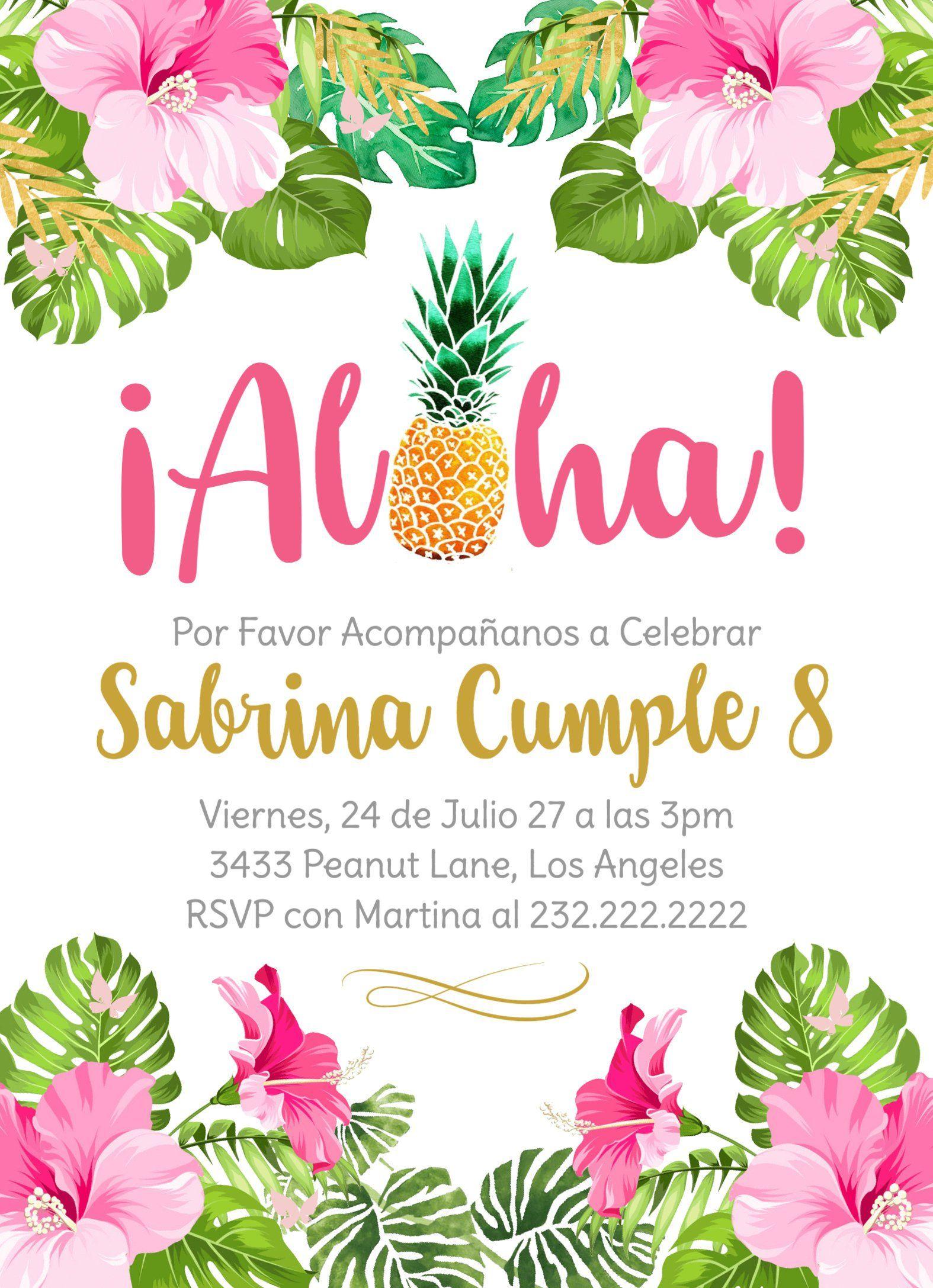 Feliz Cumpleaños Invitacion Cumpleanos Niña Aloha Hawaii