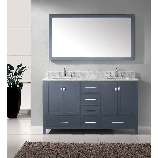 "Virtu Caroline Avenue 60"" Double Bathroom Vanity Set With Mirror Enchanting Bathroom Cabinet Reviews Design Inspiration"