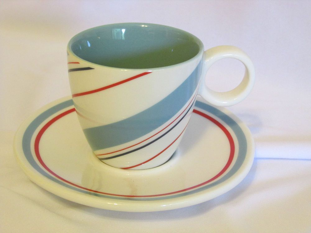Starbucks Holiday 2007 Espresso Demitasse Cup Saucer Set Blue Red Candy Stripe #Starbucks