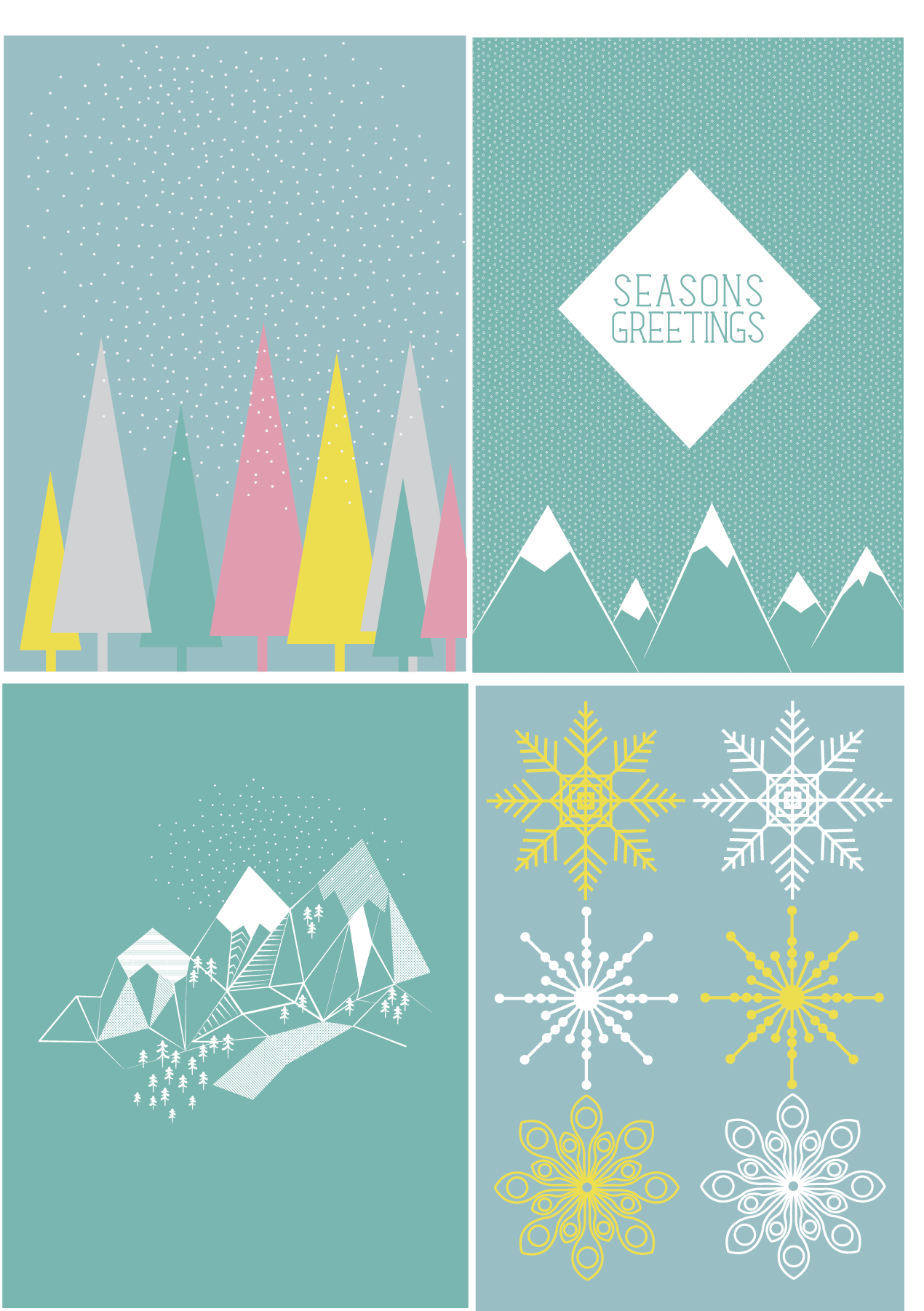 Geometric winter scene christmas cards Design