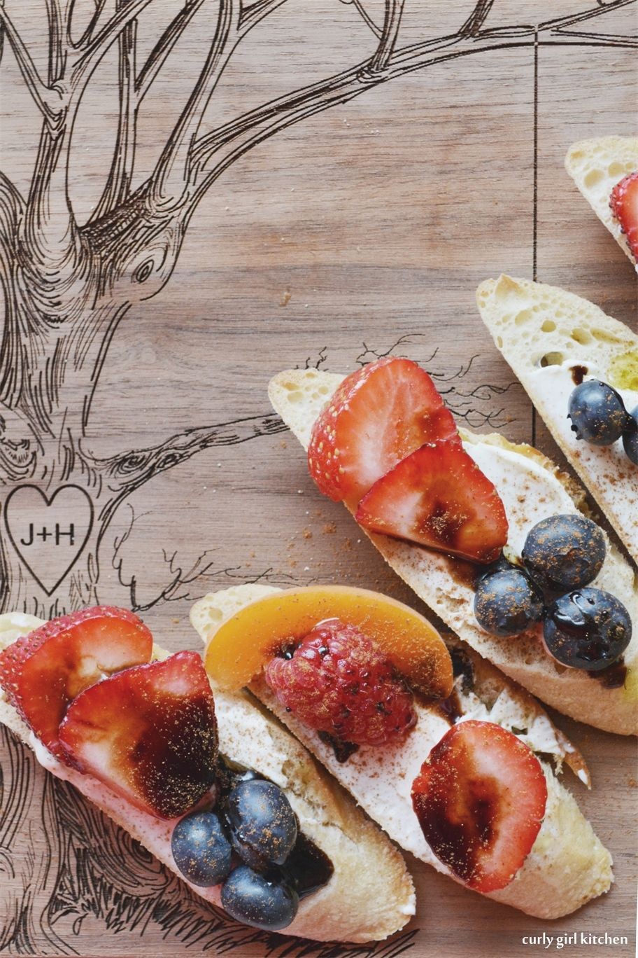 Curly Girl Kitchen: Berry Crostini with Cream Cheese, Balsamic and Blood Orange Olive Oil