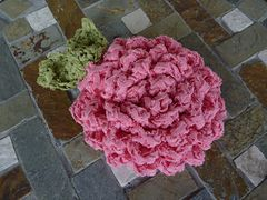 Peony pouf for set with peony applique towels