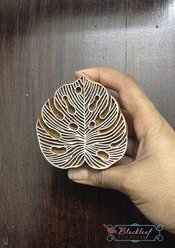 Wood Block Printing Hand Carved Indian Wood Textile Block Stamp