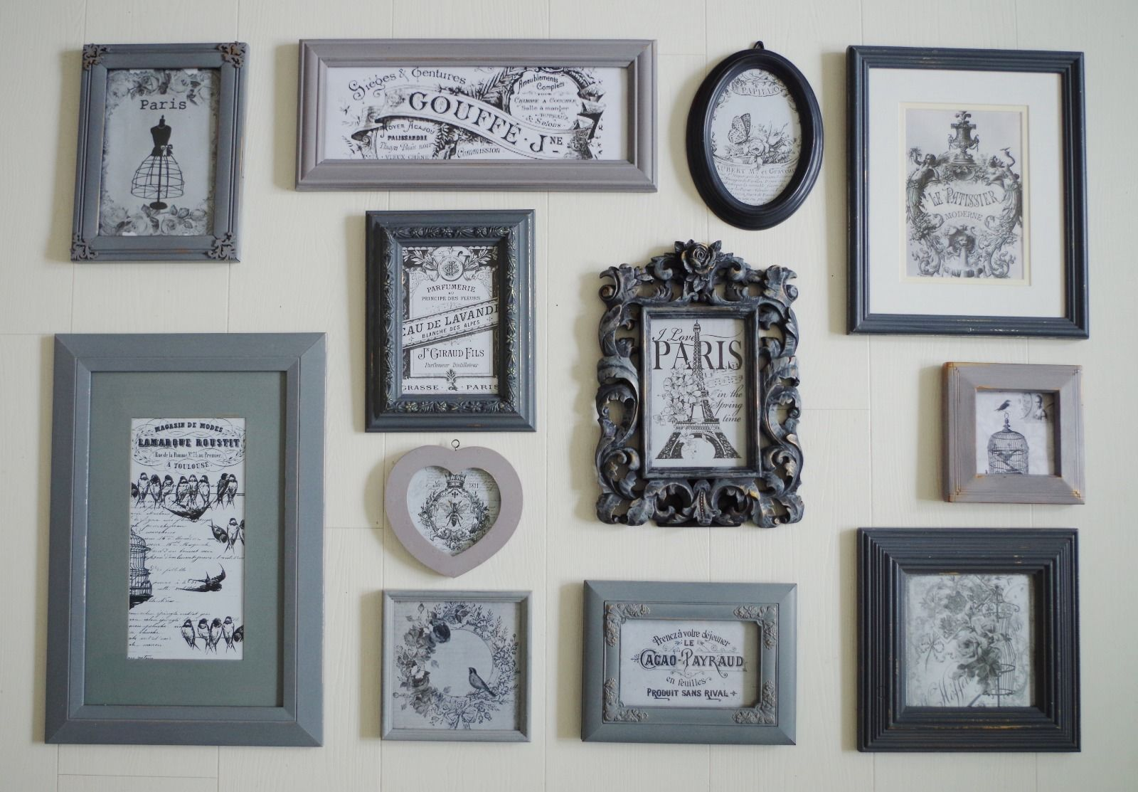 12 shabby chic picture frames shades of grey farrow ball paris 12 shabby chic picture frames shades of grey farrow ball paris feature wall jeuxipadfo Images