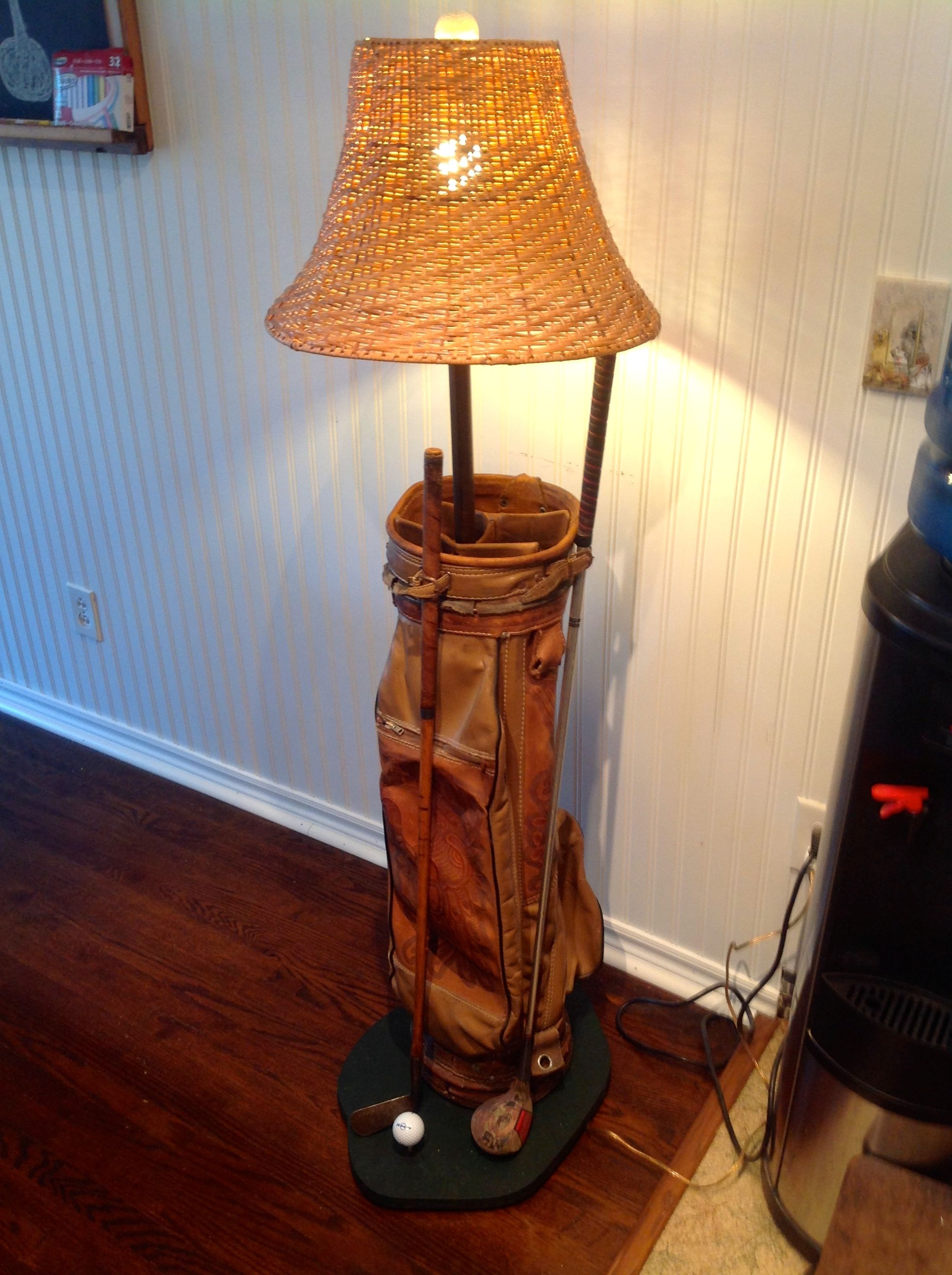 Vintage Golf Bag Lamp Actually Found This In The Garbage It S Leather With