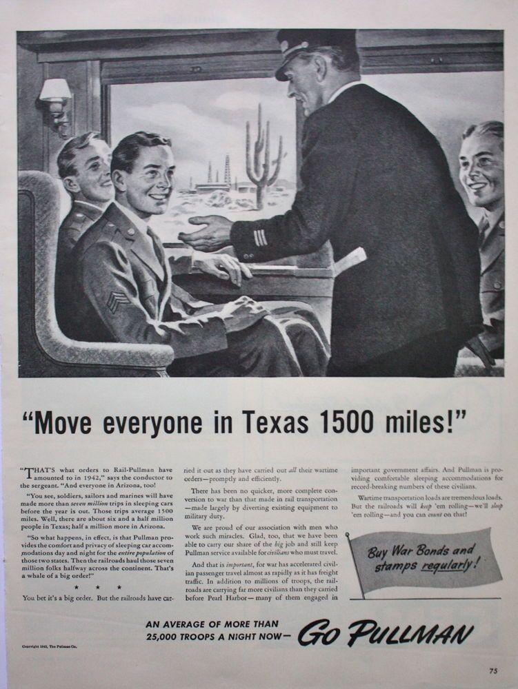 1942 ad Texas train men go pullman war bonds service marines army conductor