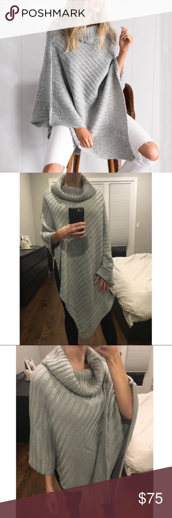 Oversized chunky turtleneck knit sweater pullover | Grey ...