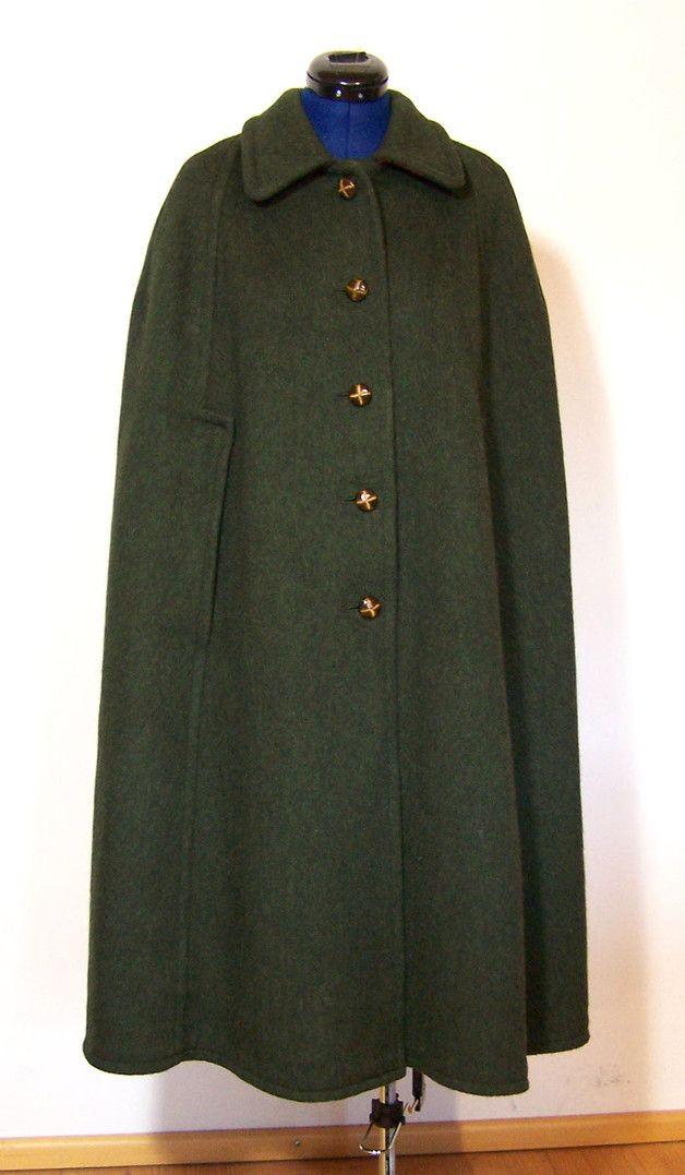 vintage mantel cape kotze loden gr n shopname. Black Bedroom Furniture Sets. Home Design Ideas