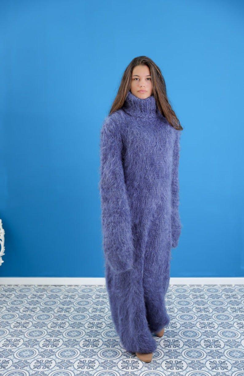 Gray Fluffy Mohair Dress Fuzzy Mohair Sweater Dress Mohair Turtleneck Knit Dress Slouchy Boho Mohair Dress In 2021 Mohair Sweater Fuzzy Mohair Sweater Beautiful Womens Sweaters