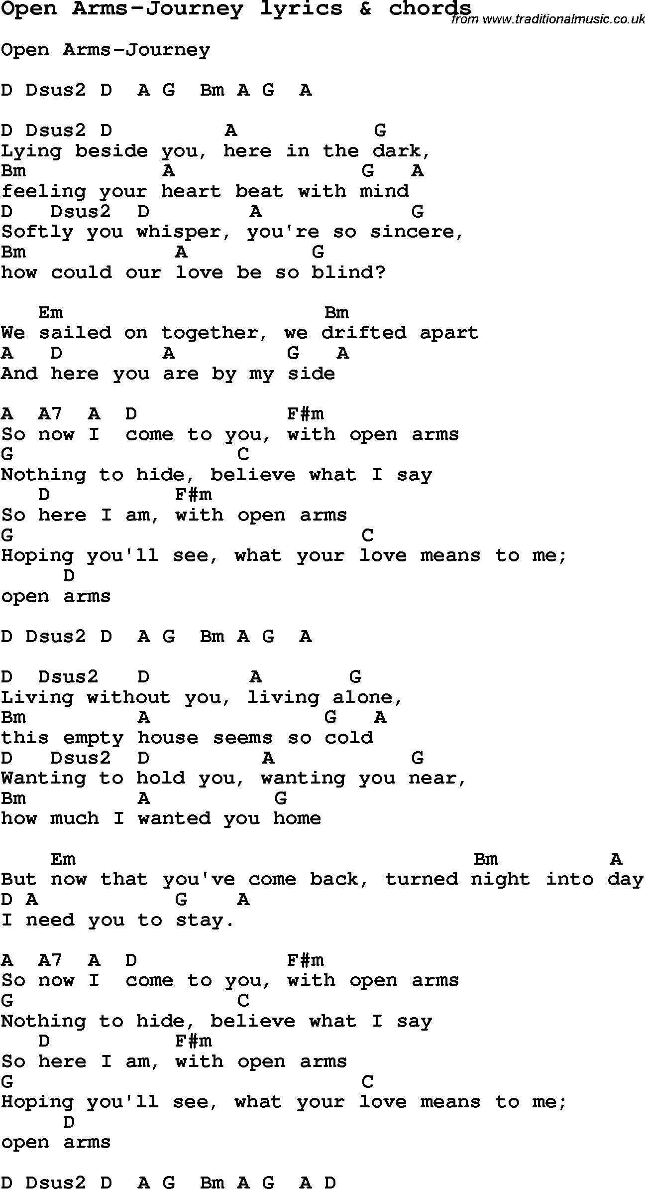 Love Song Lyrics For Open Arms Journey With Chords For Ukulele