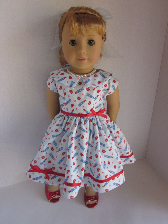 "Lipstick on my Collar Retro 50's Mary Ellen sock hop dress pearl necklace hair ribbon fits 18""American Girl Dolls other 18"" dolls similar by DreamyDoll on Etsy"