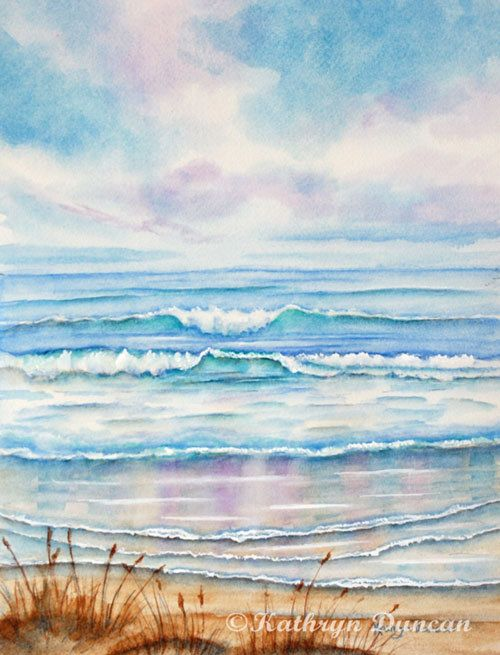 Ocean Beach Waves Watercolor Painting Giclee Print Home Decor Art