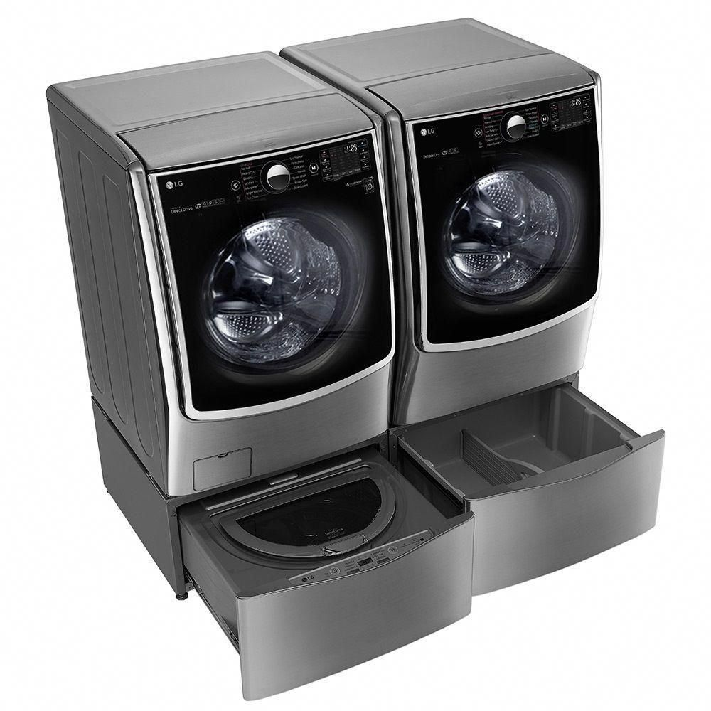Lg Electronics 29 In 1 0 Cu Ft Sidekick Pedestal Washer With Twinwash System Compatibility In Graphite Steel Wd200cv The Home Depot Mini Washer And Dryer Washer Washer And Dryer