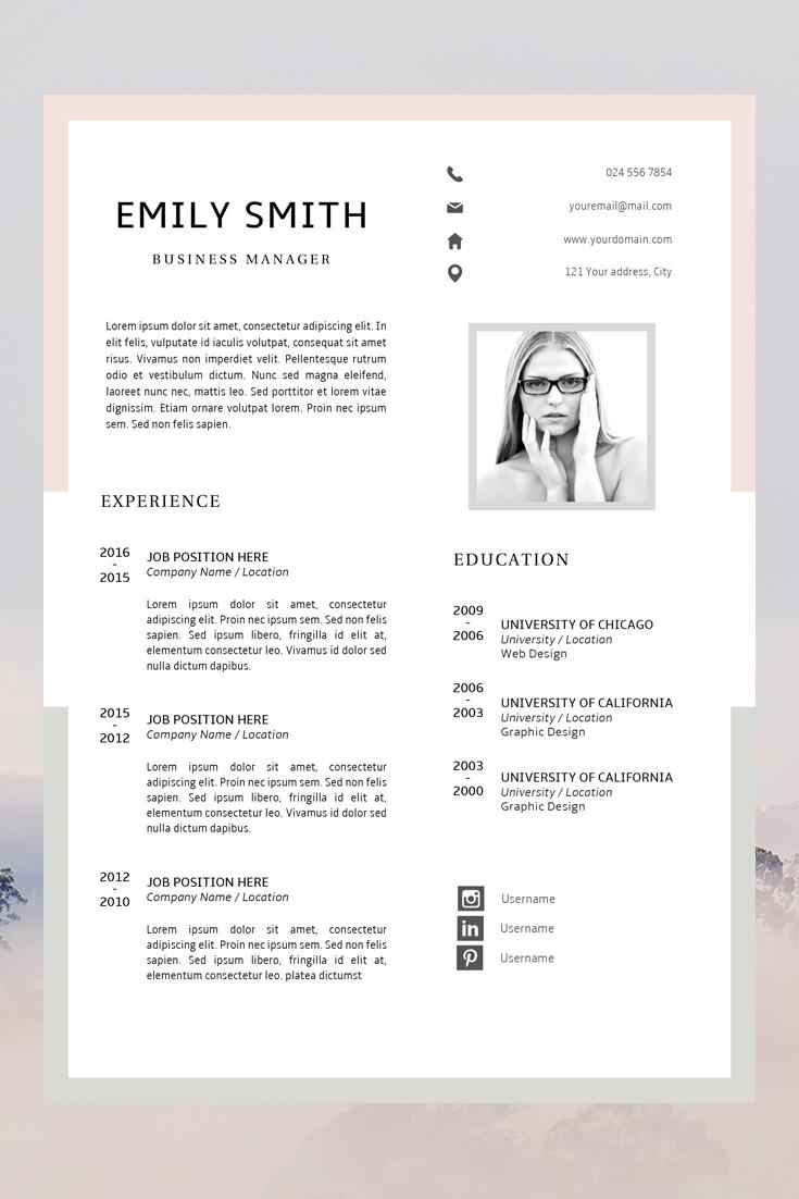 Modern Resume Template | CV Template + Cover Letter ...