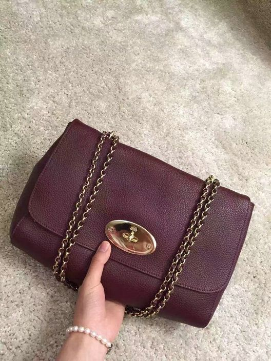 20f30a3a90c Cheap Mulberry Medium Lily Shoulder Bag Oxblood Small Classic Grain ...