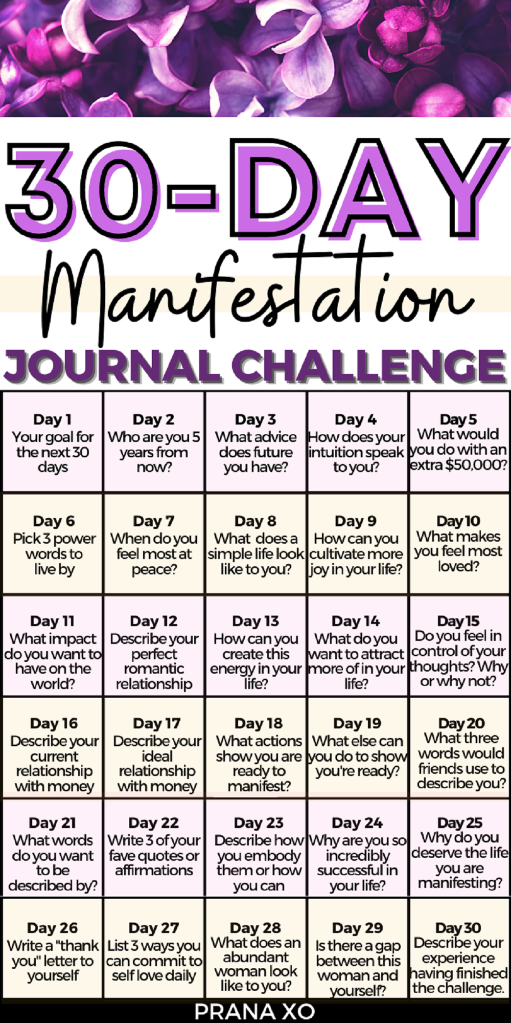 30-Day Manifestation Journal Challenge (Law of Attraction Journaling Prompts for Manifesting)